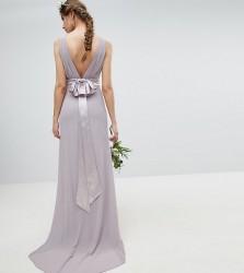 TFNC Tall Sateen Bow Back Maxi Bridesmaid Dress - Grey