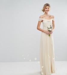 TFNC Tall Wedding Cold Shoulder Embellished Maxi Dress - Cream