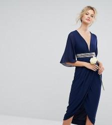 TFNC Tall Wedding Kimono Sleeve Midi Dress With Wrap Skirt - Navy