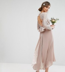 TFNC Tall Wedding Lace Midi Dress With Bow Back - Pink