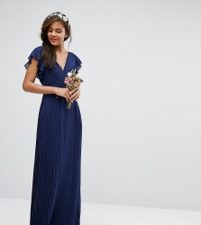 TFNC Tall Wedding V Front Maxi Dress With Frill Sleeve - Navy