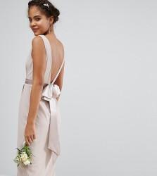 TFNC Tall Wedding Wrap Midi Dress With Bow Back - Pink