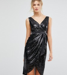 TFNC Tall Wrap Front Sequin Midi Dress With Satin Waist Band - Black