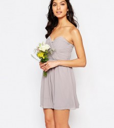 TFNC WEDDING Bandeau Chiffon Mini Dress - Grey