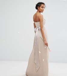 TFNC WEDDING Bandeau Maxi Dress with Bow Back Detail - Brown