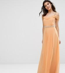 TFNC WEDDING Cold Shoulder Embellished Maxi Dress - Orange