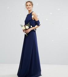 TFNC WEDDING Frill Detail Maxi Dress - Navy