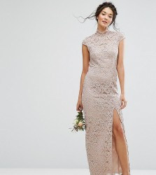 TFNC WEDDING High Neck Lace Dress With Cap Sleeve - Pink