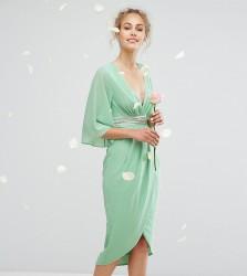 TFNC WEDDING Kimono Sleeve Midi Dress with Wrap Skirt - Green