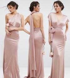 TFNC WEDDING Multiway Maxi Dress in Sheen - Pink