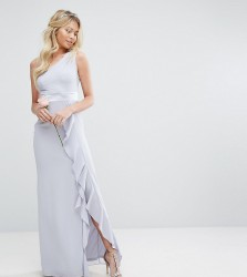 TFNC WEDDING One Shoulder Maxi Dress with Frill Detail - Blue