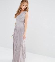 TFNC WEDDING Pleated Wrap Maxi Dress - Grey