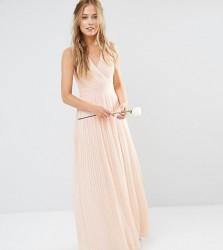 TFNC WEDDING Pleated Wrap Maxi Dress - Pink
