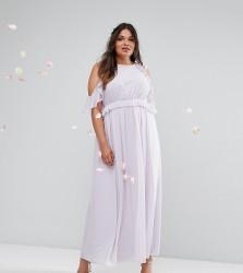 TFNC Wedding Plus Frill Detail Maxi Dress - Purple