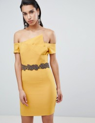 The 8th Sign Asymmetric Pencil Dress With Emebllished Waistline - Yellow