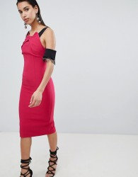The 8th Sign Pencil Midi Dress With Lace Sleeve Detail - Pink