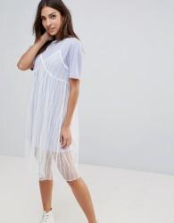 The English Factory Mesh Slip Dress With T-Shirt - Purple