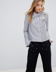The English Factory Scallop Collar Stripe Shirt With Patches - Blue