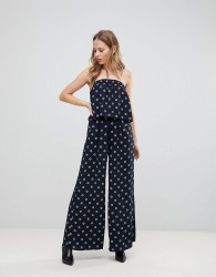 The Fifth Seeker Printed Strapless Jumpsuit - Navy