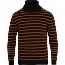 The Gigi Casimir Multistripe Turtleneck Wool Sweater Black/Orange