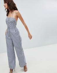The Jetset Diaries Cornflower Striped Halterneck Jumpsuit - Blue