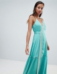 The Jetset Diaries embroidered wrap maxi dress - Green