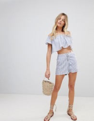The Jetset Diaries Haven Striped Tassel Shorts - Blue