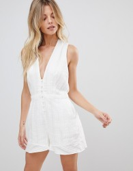 The Jetset Diaries Horizon Deep V Neck Playsuit - White