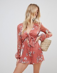 The Jetset Diaries Oasis Floral Tie Front Playsuit - Red