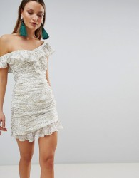 The Jetset Diaries Ruched Ruffle Mini Dress - White