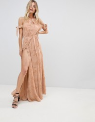 The Jetset Diaries Sierra Lace Thigh Split Cold Shoulder Maxi Dress - Pink
