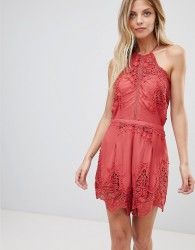 The Jetset Diaries Vierna Lace Halterneck Playsuit - Pink