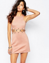 The Laden Showroom X Rok & Rebelle Mini Dress With Lace Up Detail - Beige