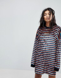 The Ragged Priest Almost Famous Rainbow Velvet Dress - Multi
