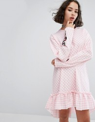 The Ragged Priest Cottonmouth Frill Hem Dress - Pink