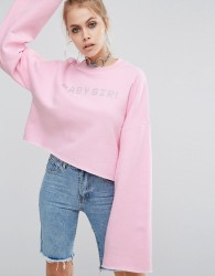 The Ragged Priest Cropped Sweat And Diamante Babygirl Slogan - Pink