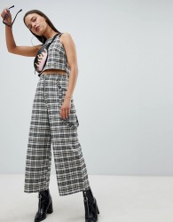 The Ragged Priest cropped wide leg trousers in check - Multi