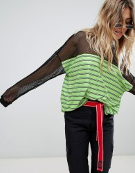 The Ragged Priest long sleeve t-shirt with sheer panel - Green