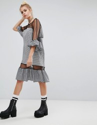 The Ragged Priest Oversized Mesh Dress With Gingham Trims - Black