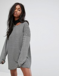 The Ragged Priest Oversized T-Shirt Dress With Choker In Stripe - Black
