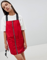 The Ragged Priest pinafore dress with zip front - Red