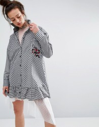 The Ragged Priest Shirt Dress In Gingham With Patch - Black