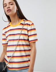The Ragged Priest shrunken t-shirt in stripe velvet - Multi