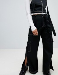 The Ragged Priest Wide Leg Heavy Cotton Trousers With Top Stitch Detail And D-ring Belt - Black