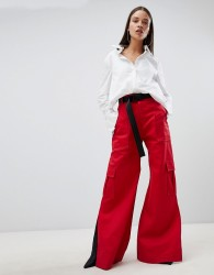 The Ragged Priest wide leg trousers with belt - Red