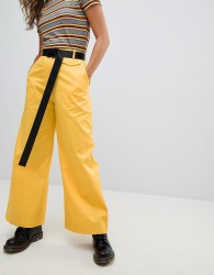 The Ragged Priest Wide Leg Trousers With Belt - Yellow