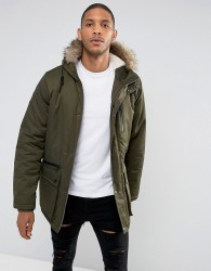 Thereadbare Faux Fur Borg Lined Parka - Green