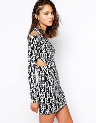 This Is A Love Song Bodycon Dress With High Neck And Cut Out Shoulder Detail - Multi