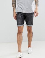 Threadbare Basic Denim Turn Up Shorts - Black