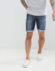 Threadbare Basic Denim Turn Up Shorts - Navy